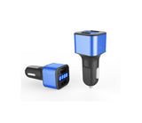 Car Charger 12-24V Dual USB 5V 3.1A with LED Display Voltage and Current-Blue - #KC-2U005