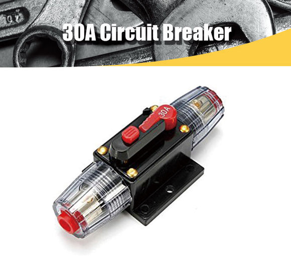 12V DC 30A Car Audio Circuit Breaker Inline Fuse for 12V System Protection 30AMP - #FUSEO-70160
