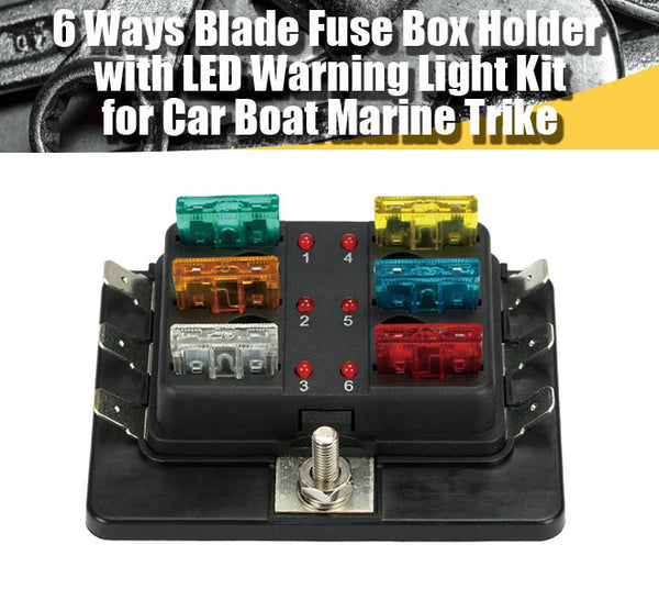 6 way blade fuse box holder with led warning light kit for car ...  hjl autoparts