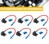 6 x Car Add-a-circuit Fuse Standard Fuse Holder w/6 PCS 15A Standard Fuse - #FUSEO-70200
