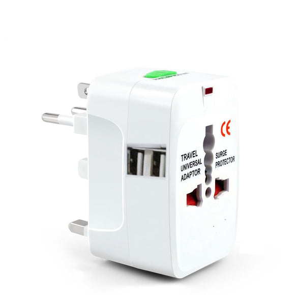 Universal Travel Adapter Worldwide Power Plug Wall AC Adaptor with 2 x USB Ouput - #AD-W001