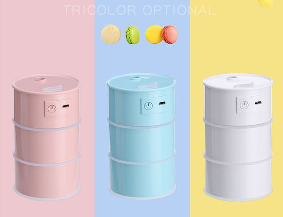 Multi Function Led Air Humidifier Aroma Diffuser Cute Oil Drum w/USB Light & Fan - #ASSRY-70600