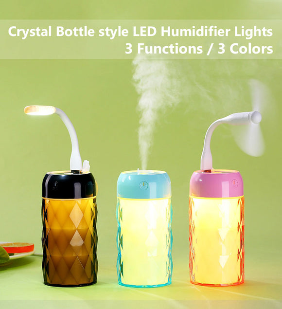 Multi Function Led Air Humidifier Aroma Diffuser Crystal Bottle w/USB Light&Fan - #ASSRY-70700