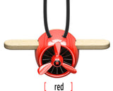 Nature Wood Diffuser Aroma Propeller Design w/leather hanging strap+Gift Box-Red - #ASSRY-70831
