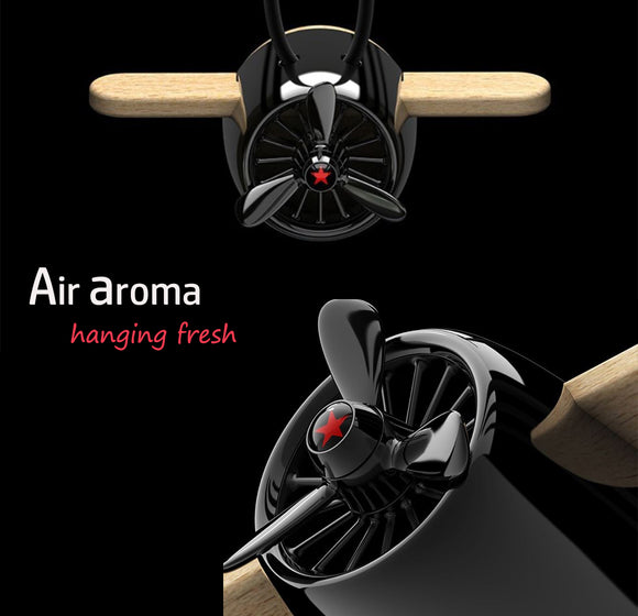Nature Wood Diffuser Aroma Propeller Design w/leather hanging strap+Gift box-BLK - #ASSRY-70832