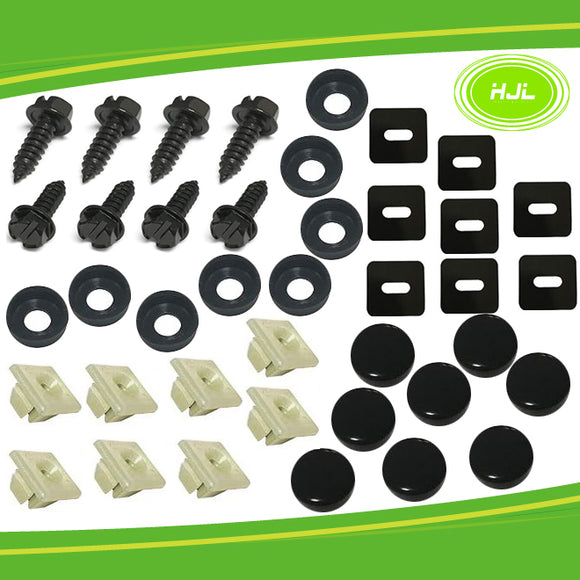 Black License Plate Screw fastener kit size 1/4-14-3/4