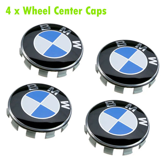 Set of 4 BMW Wheel Center Caps Emblem 68mm/2.7