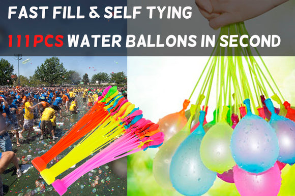 111 + Water Bunch Balloons Fast Fill & Self Tyling Hot Summer Fun Toy Set - #FUNKT-01000