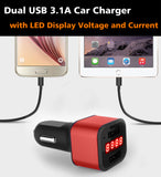 Car Charger 12-24V Dual USB 5V 3.1A with LED Display Voltage and Current-Red - #KC-2U003