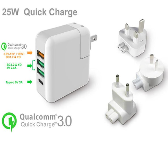 Quick Charge 3.0 25W 4-Port USB Type C Wall Charger Travel Set w/EU UK AU Plug - #KC-4U01