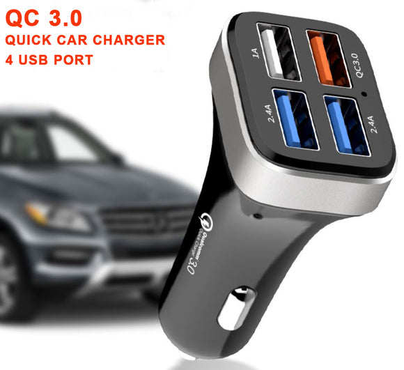 QC 3.0 4 xUSB Port Car Charger 12-24V Rapid Charging For Smart Phone Tablet - #KC-4U04