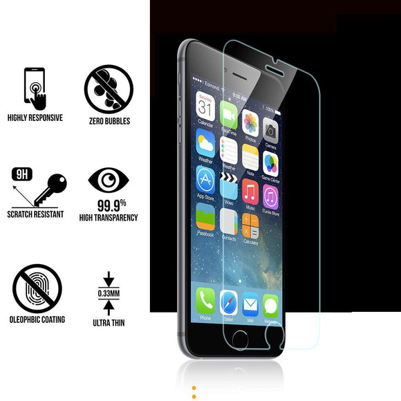 2 Pack 9H Hardness HD Tempered Glass Screen Protector For iPhone 6 7 8 X - MOBIL-1A000