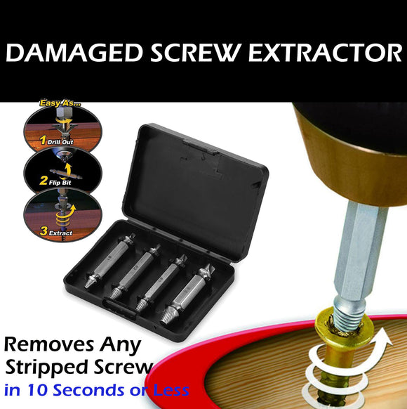 Damaged Screw Remover Extractor Easily Remove Stripped Damaged Screws Set of 4 - #TOKIT-99854