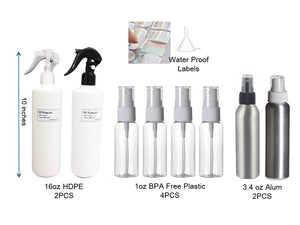 8PCS HDPE Plastic spray bottles 16oz SAFETY SWITCH 1oz alcohol botellas de spray - #SPRAY-330P0