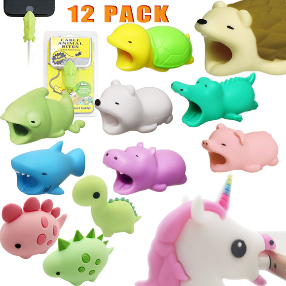 12PCS Cable Bites Animals Phone Cable Protector Cord Cute Animal Phone Accessory Protects Cable Accessory - #MOBIL-21120