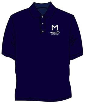 Ladies navy polo with 'Malt M' back