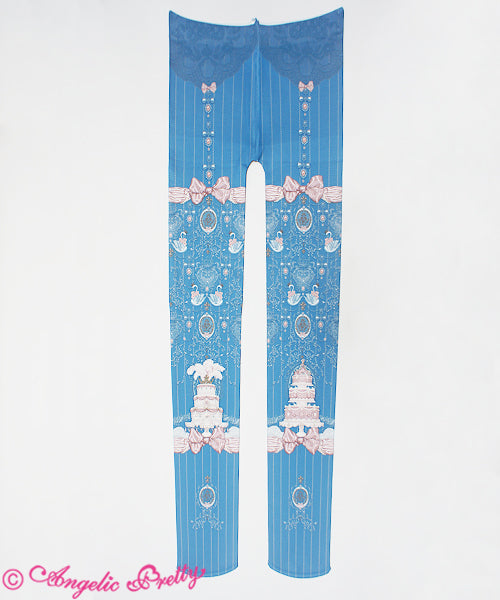 Antoinette Decoration Tights in Blue from Angelic Pretty
