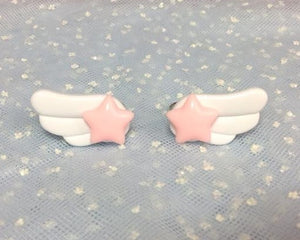 Star Wing Ring Pair Pink x White from Pastel Skies
