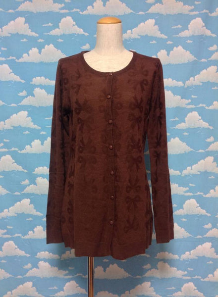 Bow Cardigan in Brown from SWIMMER (A)