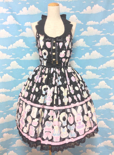 Fancy Paper Dolls JSK With Collar in Black from Angelic Pretty
