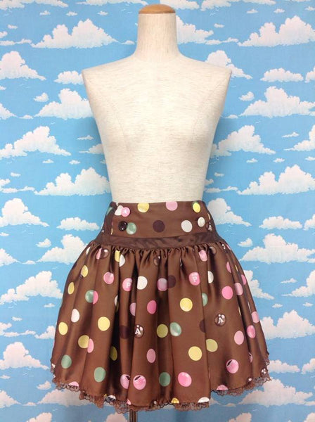 Polka Dot Chocolate Mini Skirt in Brown from Angelic Pretty