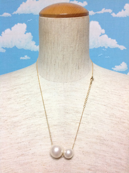 2-Pearls Necklace in Gold x Ivory from Paris Kid's