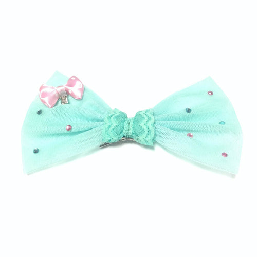 2-Way Tulle Lace Polka Dot Bow Pin/Clip in Mint from 6% DOKIDOKI