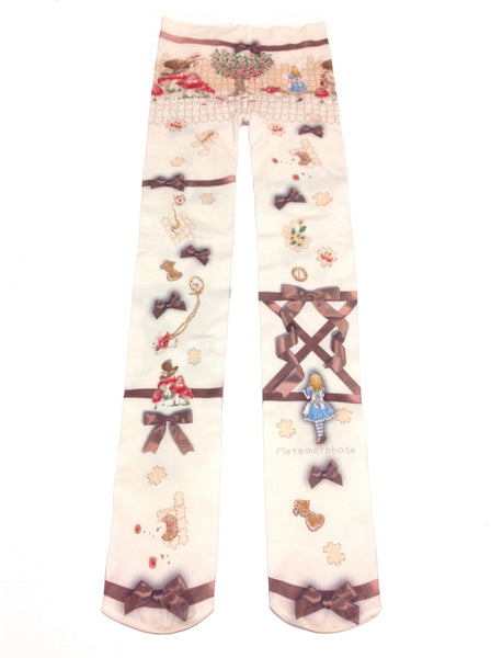 Alice with the Lost Pieces Tights in Chocolate (Ivory x Brown) from Metamorphose Temps de Fille
