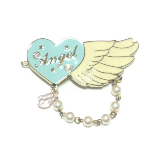 Angel Heart Pearl Charm Barrette in Mint x White from SWIMMER