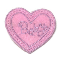 [Baby] Embroidery Felt Heart Clip in Pink x Lavender