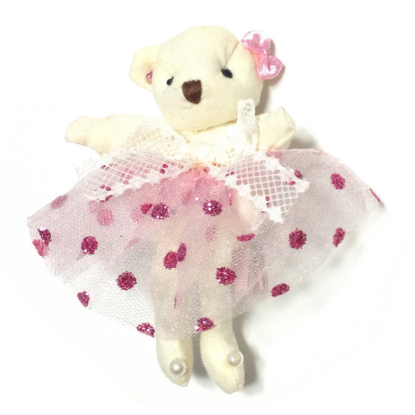 Ballerina Bear Hair Clip in Off White x Pink