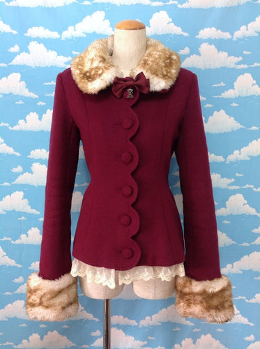 Bambi Fur Collar Short Coat in Wine from Alice and the Pirates