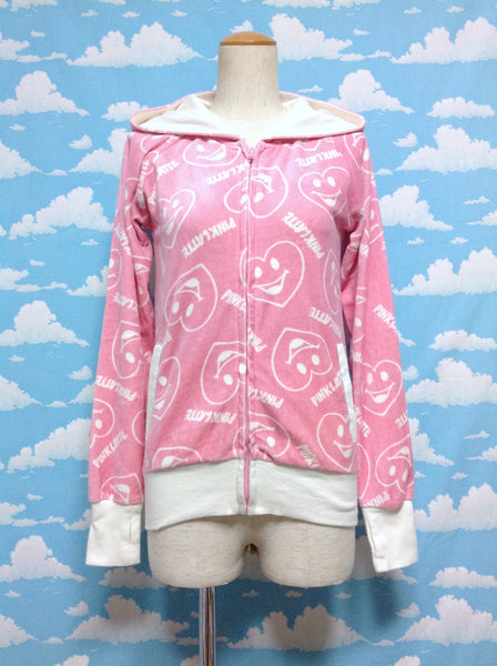 Bear Ear Hoodie in Pink x White from Pink Latte