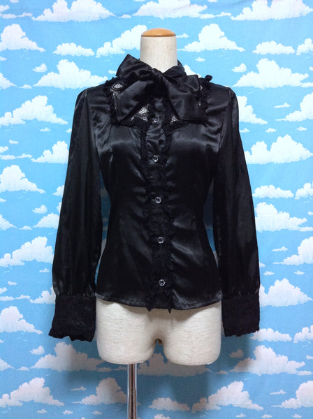 Blouse with Lace Bow Tie in Black from Alice and the Pirates