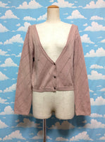 Bow Print Short Cardigan in Powder Pink from Axes Femme