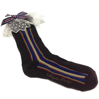 British Stripe Crew Length Socks in Brown from Angelic Pretty
