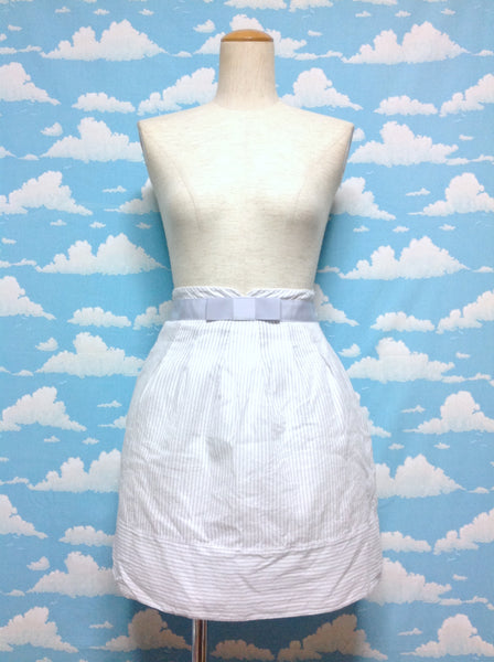 Broad Bow Stripe Skirt in Grey x White