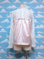 Bustier Style Lace Decoration Cutsew in Pink x White from Swankiss