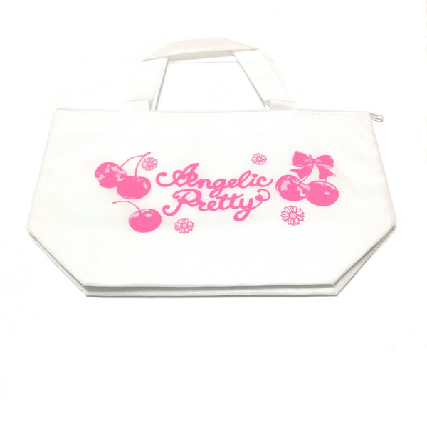 Cherry and Flower Print Mini Cooler Bag in White x Pink from Angelic Pretty (B)