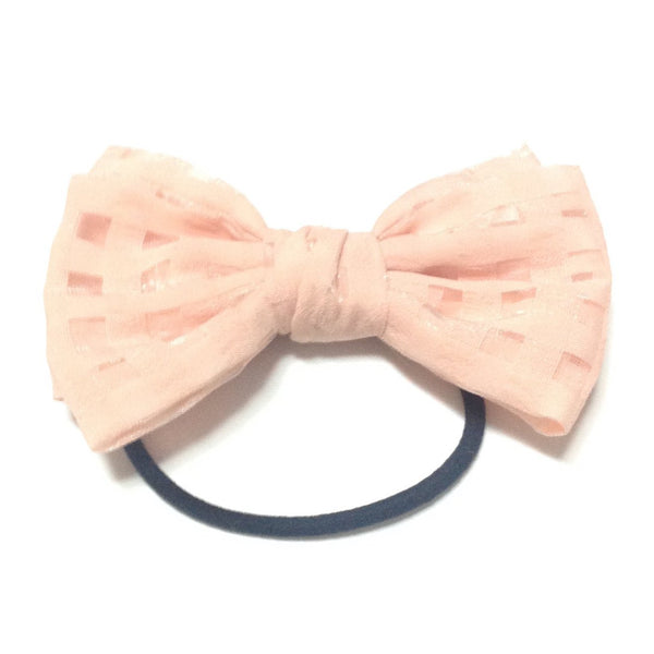 Chiffon Bow Hair Tie in Peach