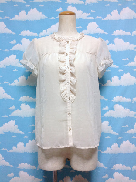Chiffon Ruffle Lace Blouse in Ivory