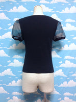 Organza Sleeve Plain Cutsew in Black from BROWNY