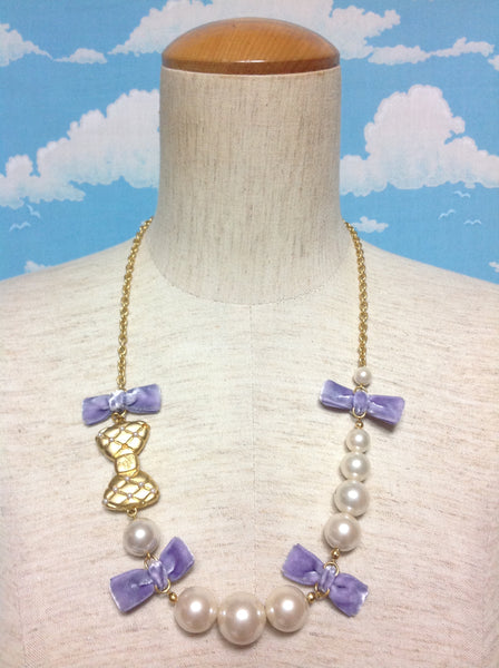 Cinema Doll Necklace in Gold x Ivory x Lavender from Angelic Pretty