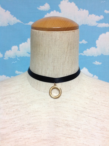 Circle Charm Choker in Black x Gold from Paris Kid's