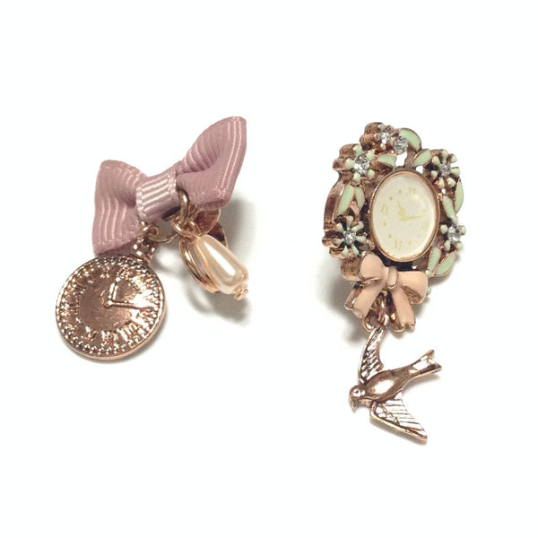 Clock, Bird and Bow Clip On Earrings from Axes Femme