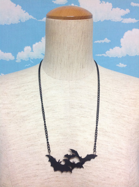 Cloud of Bats in the Night Necklace in Black