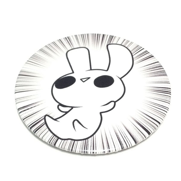 Comic Art Rabbit Badge in White x Black