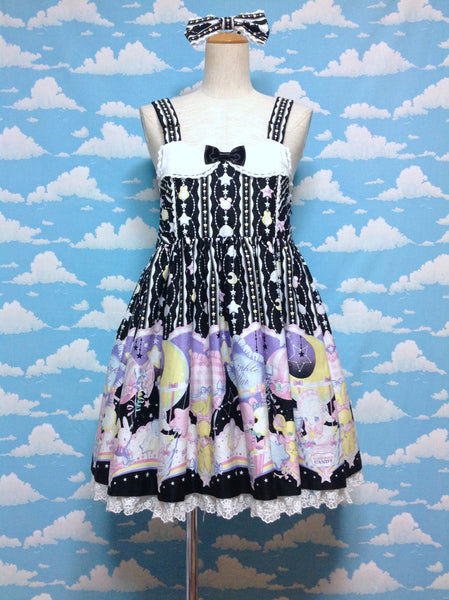 Cotton Candy Shop Salopette and Barrette Set in Black from Angelic Pretty