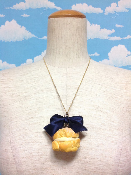 Cream Puff Necklace in Navy from Tommy Fell in Love with Sweets