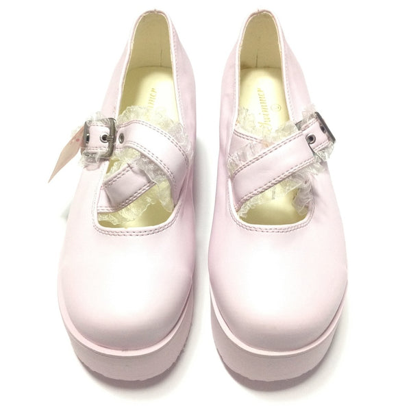 Frill Cross Platform Shoes in Pink from SWIMMER (S, 23.5 cm)